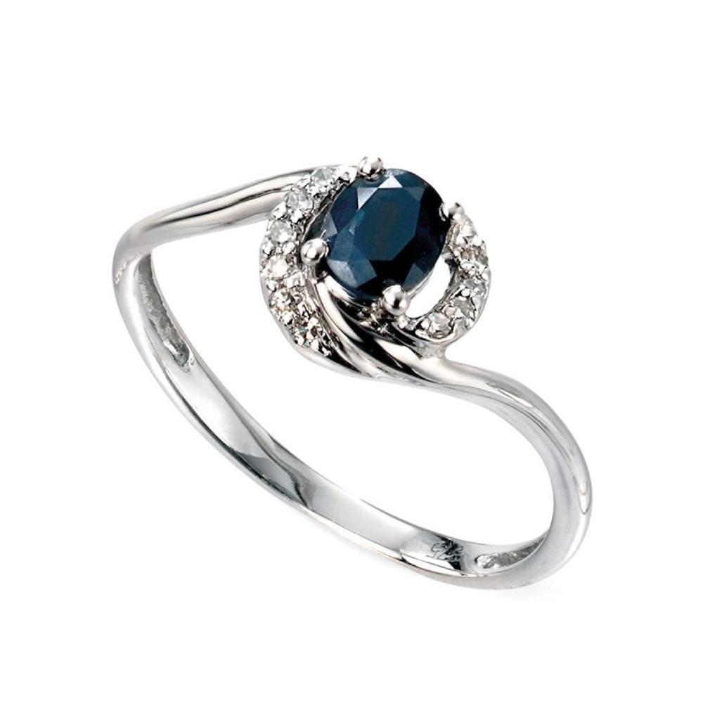 Blue sapphire and diamond
