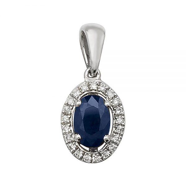 Sapphire & Diamond Oval Halo Pendant