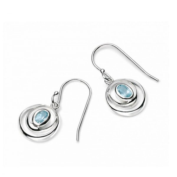 Silver Blue Topaz Earrings