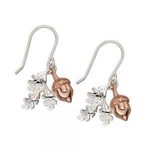 Silver & Rose Gold Plated Acorn Earrings