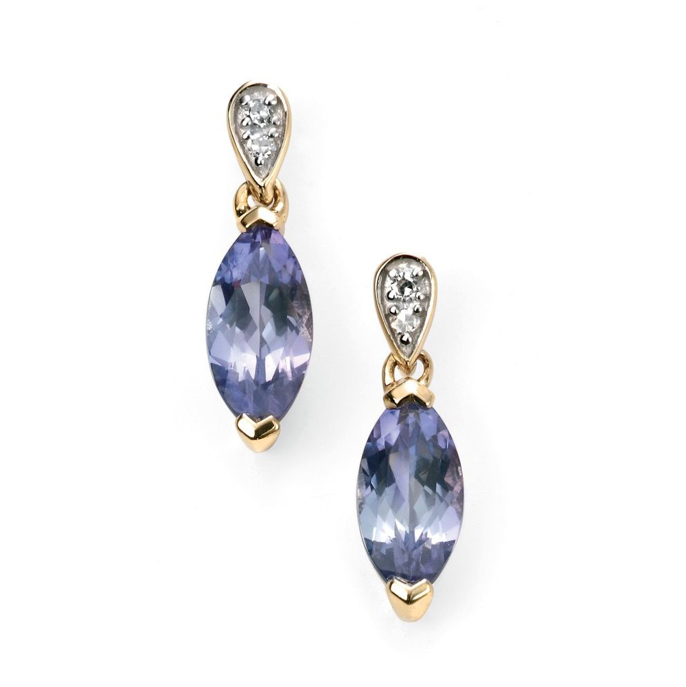 9 Carat Gold Tanzanite & Diamond Earrings
