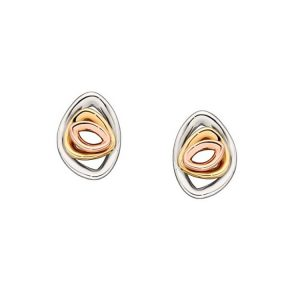 9 Carat Tri-Colour Gold Pebble Stud Earrings