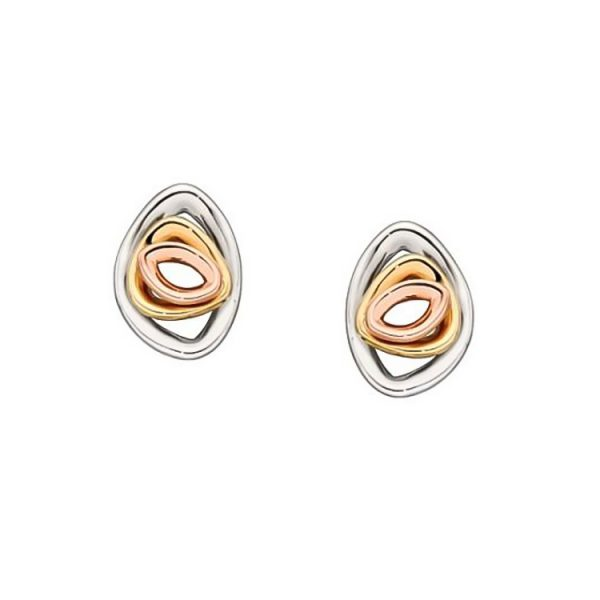 9 Carat Tri-Colour Gold Pebble Stud Earrings