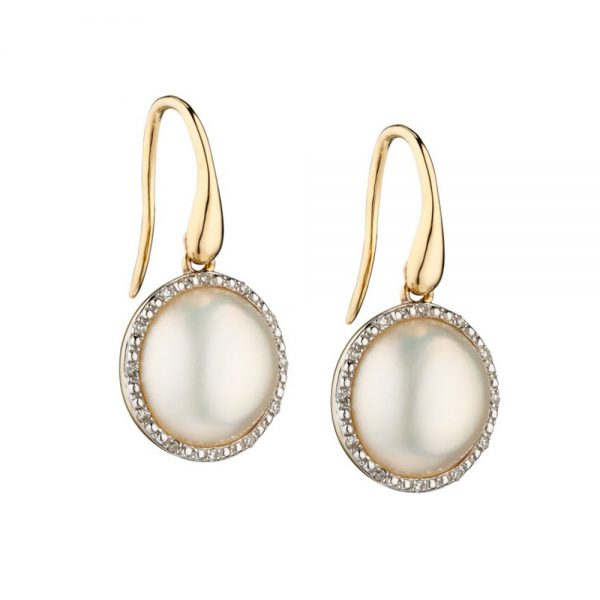 9 Carat Gold Mabe Pearl & Diamond Earrings