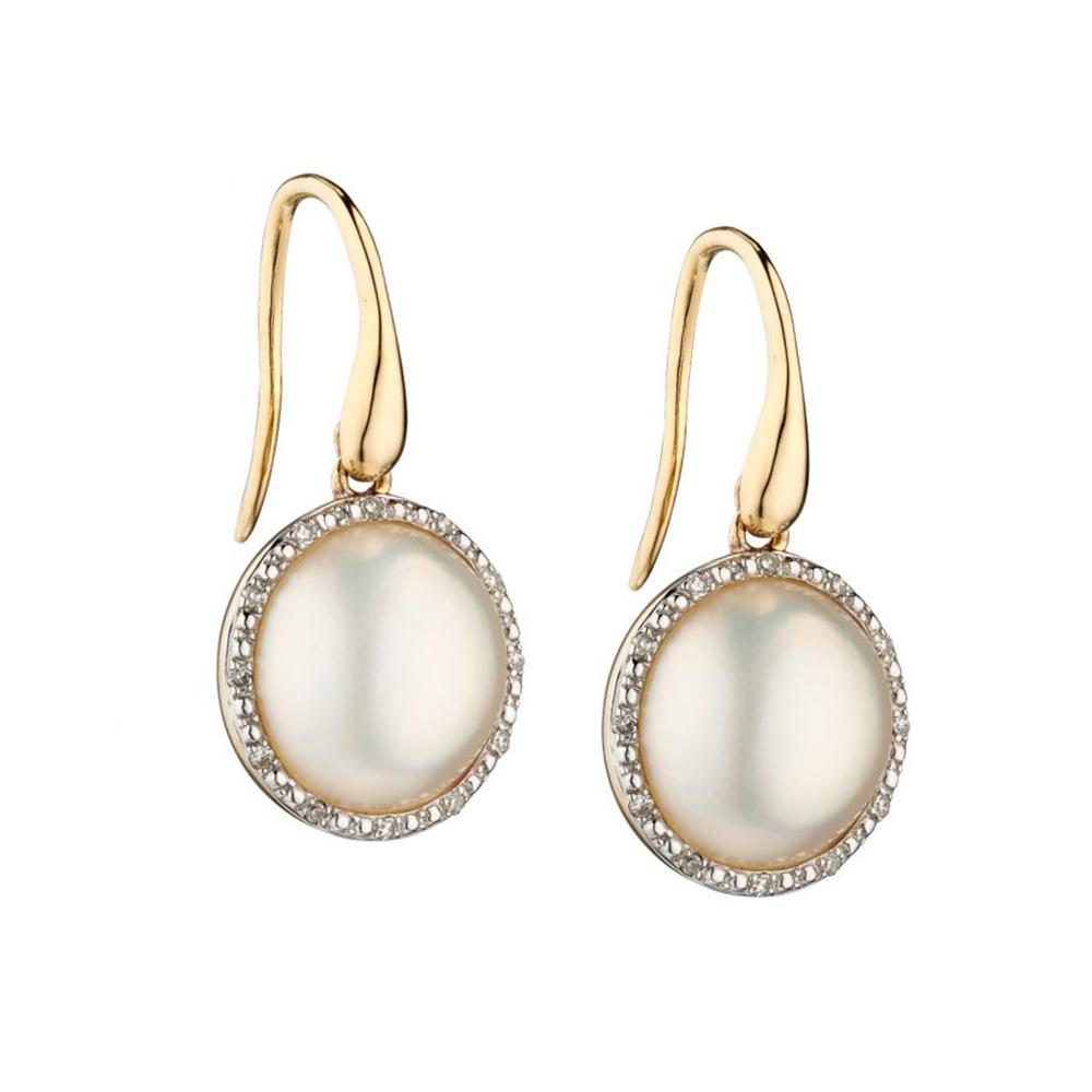 9 Carat Gold Mabe Pearl & Diamond Earrings