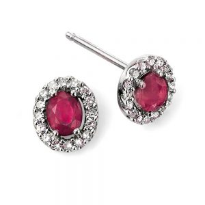 9 Carat White Gold Diamond & Ruby Cluster Studs