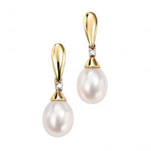 9 Carat Gold Pearl & Diamond Earrings