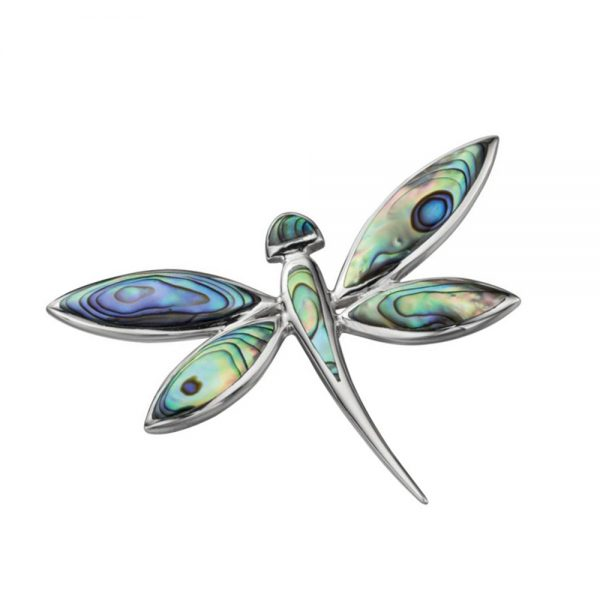 Silver Paua Shell Dragonfly Pendant