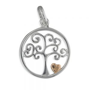 Silver Tree of Life & Heart Pendant & Chain