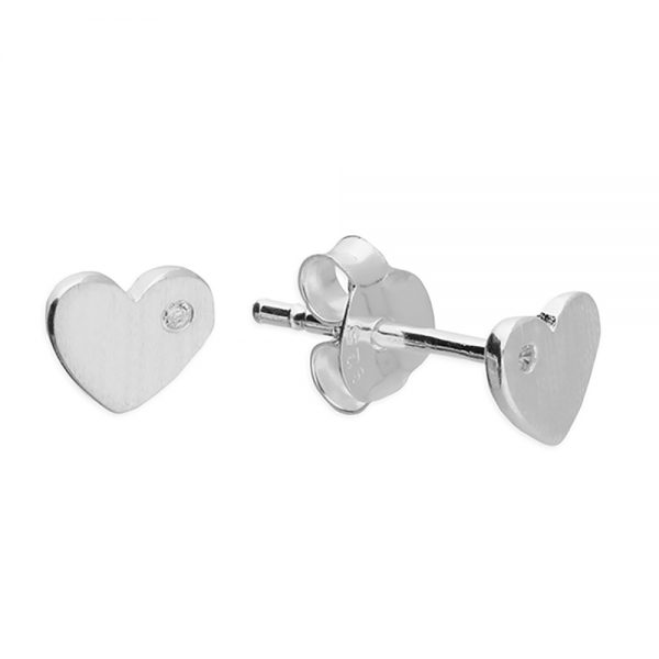 Silver & CZ Brushed Heart Studs