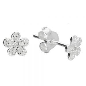 Silver & CZ Flower Studs