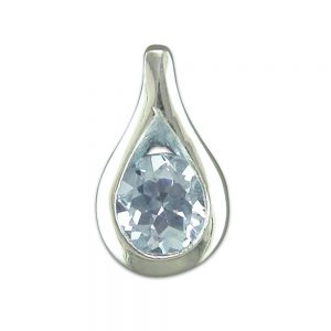Silver & Blue Topaz Pendant and Chain