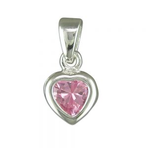 Silver & Pink CZ Heart Pendant