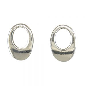 Silver Oval Teardrop Studs