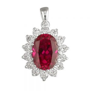 Silver CZ & Synthetic Ruby Pendant