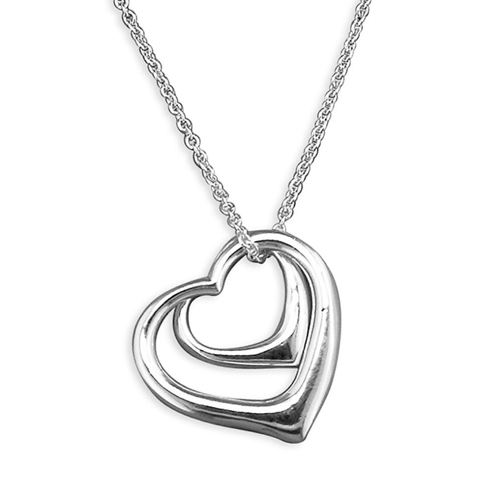 Silver Double Open Heart Pendant & Chain