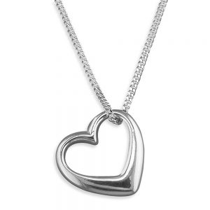 Silver Double Open Heart Pendant & Chain