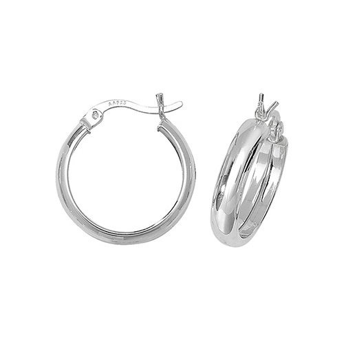 SILVER 15MM PLAIN HOOP EARRINGS