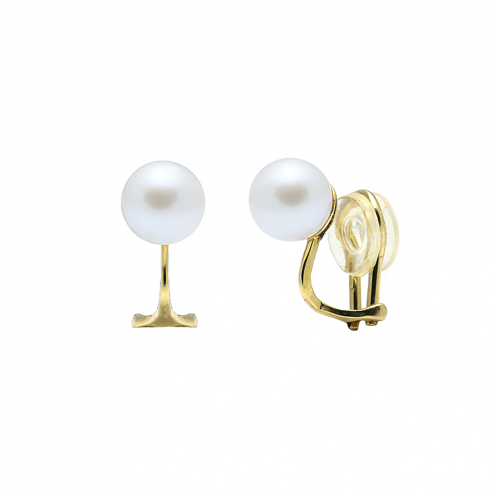 Gold Clip-on Pearl Earrings