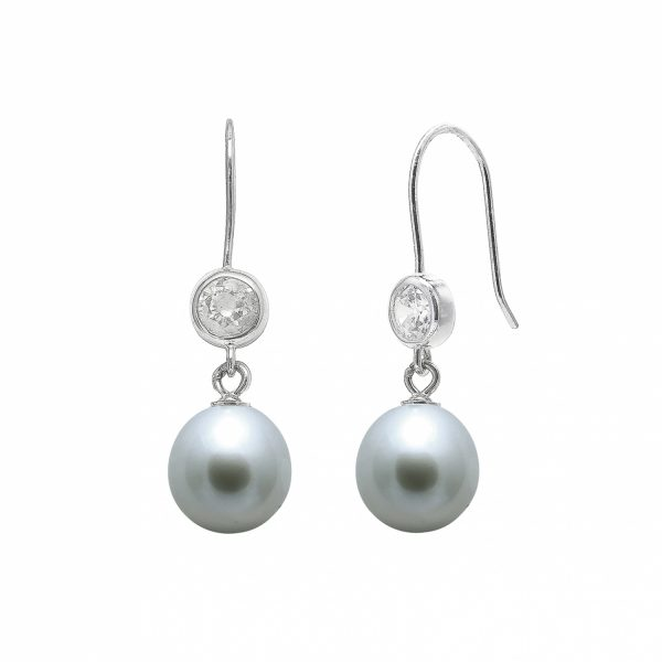 Pearl & CZ Silver Earrings