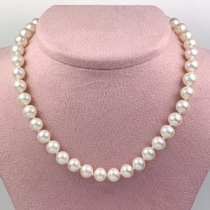 Peach Pearl Necklace with Magnetic Clasp