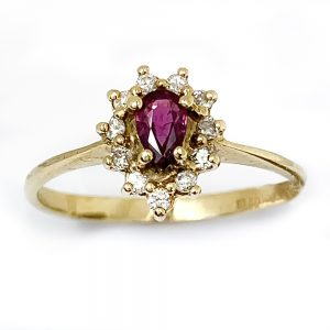 9 Carat Gold Ruby & Diamond Pear Cluster Ring