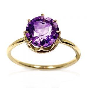 9 Carat Gold Amethyst Single Stone Ring