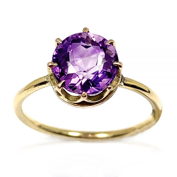 9 Carat Gold Amethyst Single Stone Ring