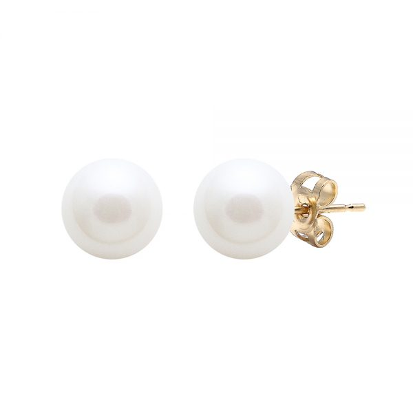 White pearl stud on gold