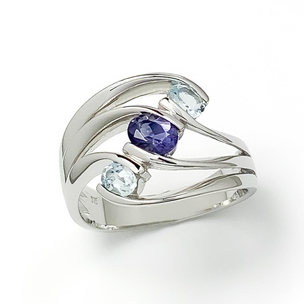 White Gold Iolite & Blue Topaz Ring