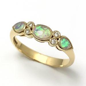 9 carat Opal & Diamond Dress ring