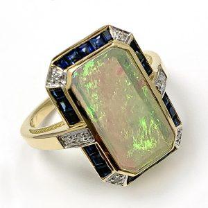 Opal, Sapphire & Diamond Dress Ring