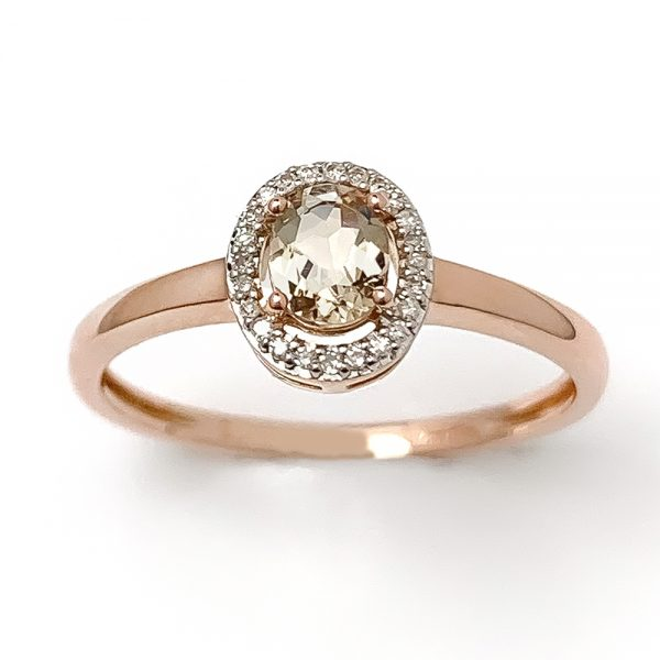 Morganite & Diamond Cluster Ring
